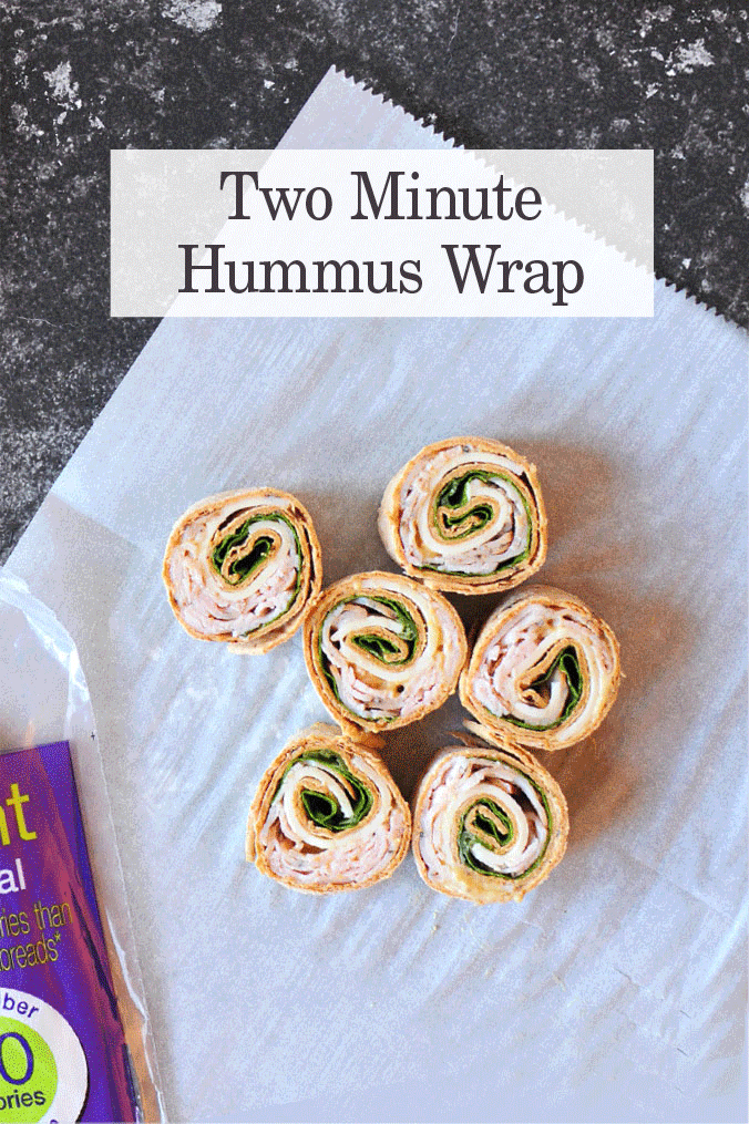 two minute sabra hummus wrap