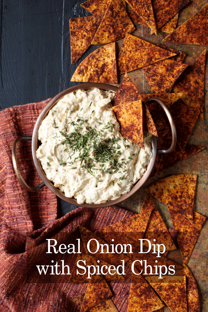 real onion dip with spiced chips pic